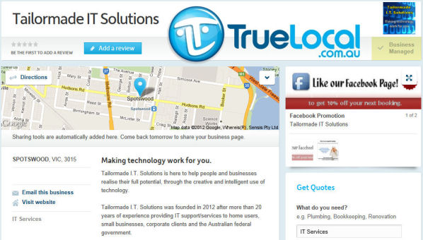 The Tailormade IT Solutions TrueLocal page